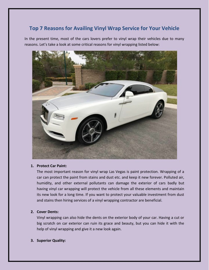 top 7 reasons for availing vinyl wrap service n.