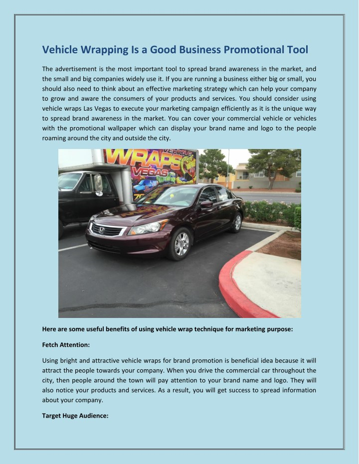 vehicle wrapping is a good business promotional n.