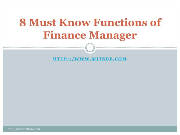 8 must know functions of finance manager n.