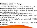 his recent areas of activity thin film feco