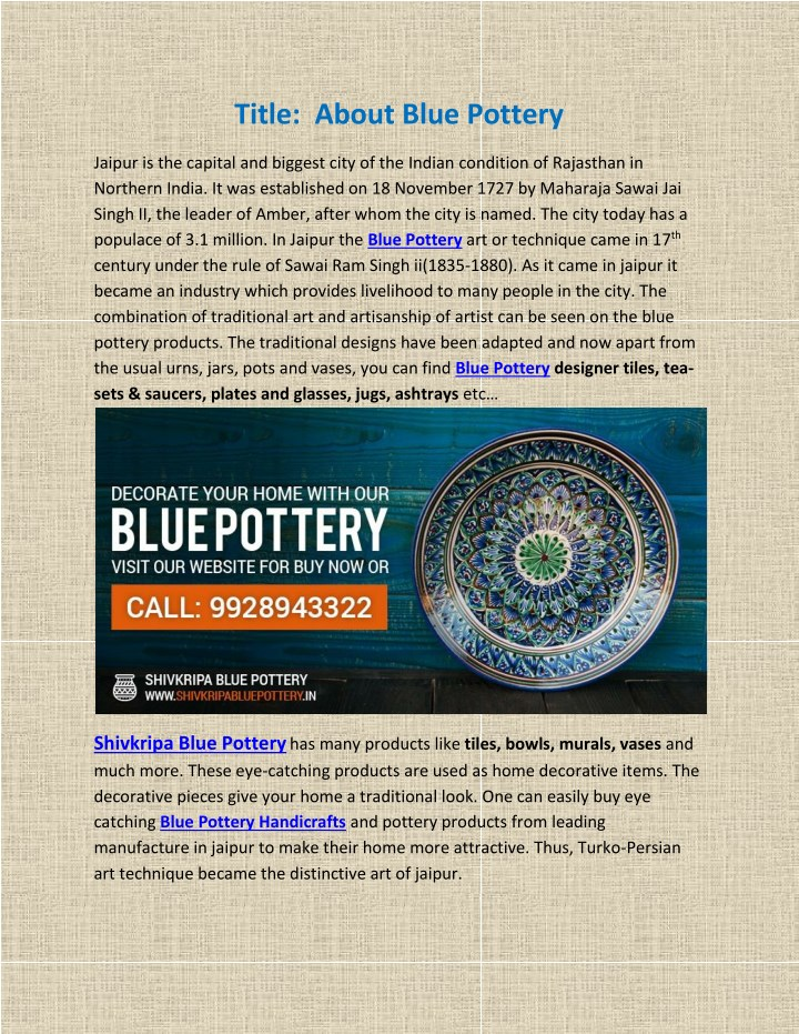 title about blue pottery n.