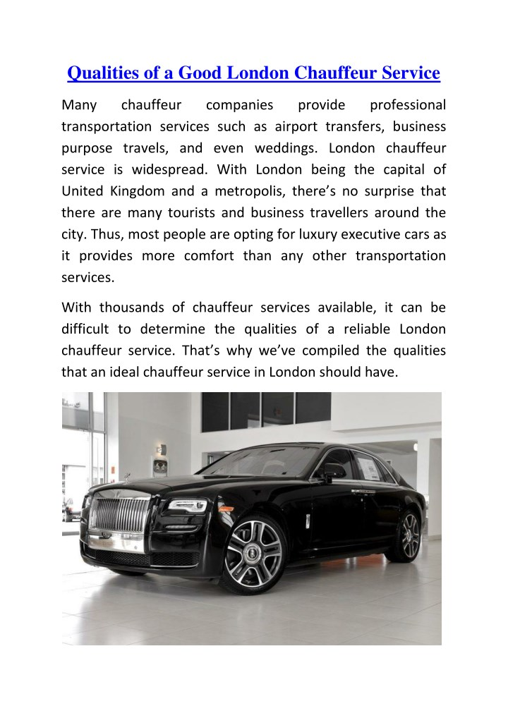 qualities of a good london chauffeur service n.