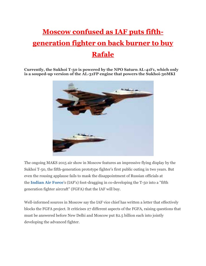 moscow confused as iaf puts fifth n.