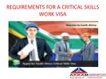 requirements for a critical skills work visa