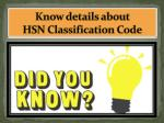 know details about hsn classification code