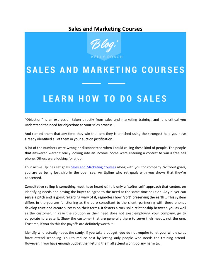 sales and marketing courses n.