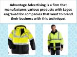 advantage advertising is a firm that manufactures