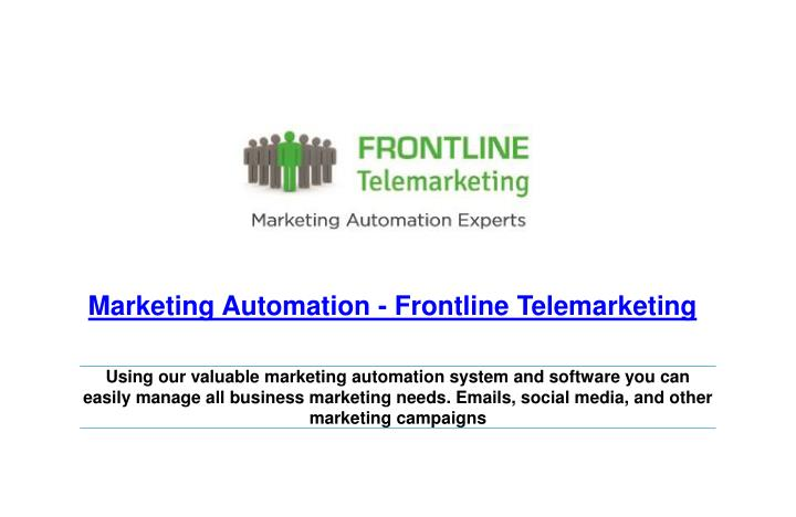 marketing automation frontline telemarketing n.