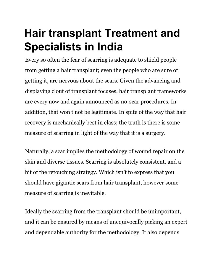 hair transplant treatment and specialists in india n.