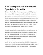 hair transplant treatment and specialists in india