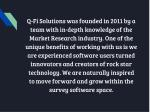q fi solutions was founded in 2011 by a team with