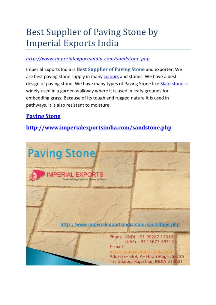 best supplier of paving stone by imperial exports n.