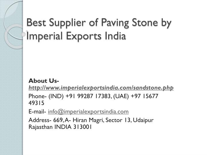 best supplier of paving stone by imperial exports india n.