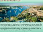 role of the nile island for tourist