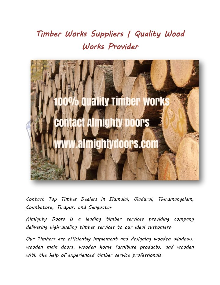 timber works suppliers n.