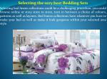 selecting the very best bedding sets selecting