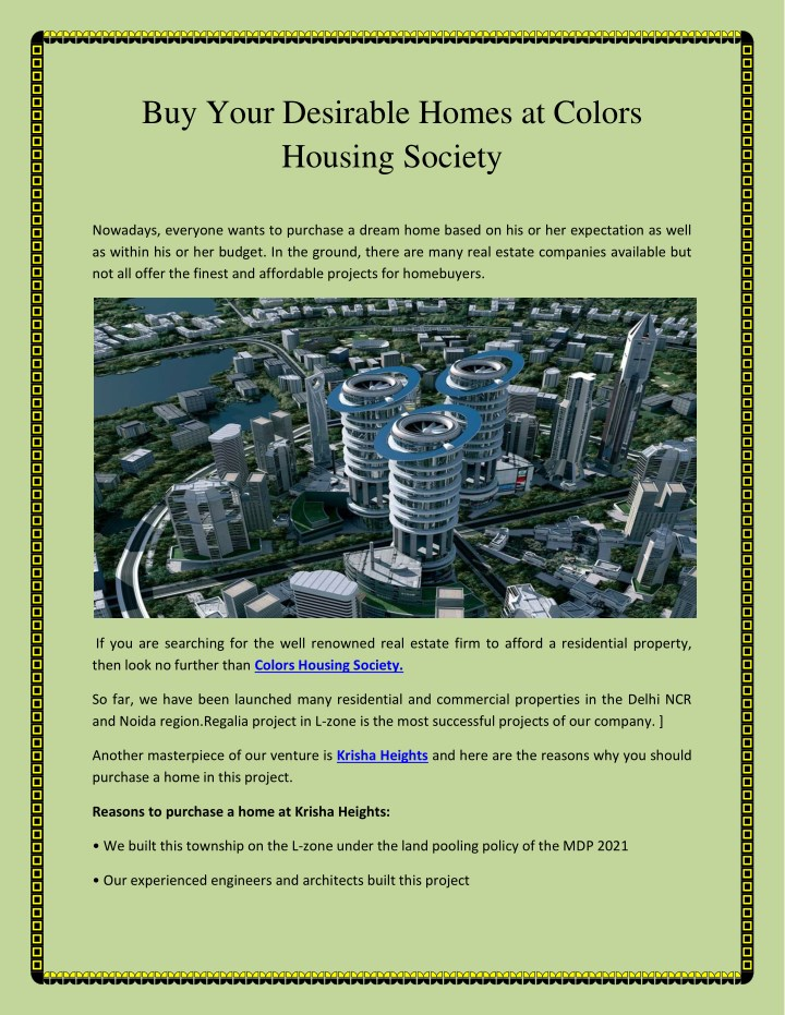 buy your desirable homes at colors housing society n.