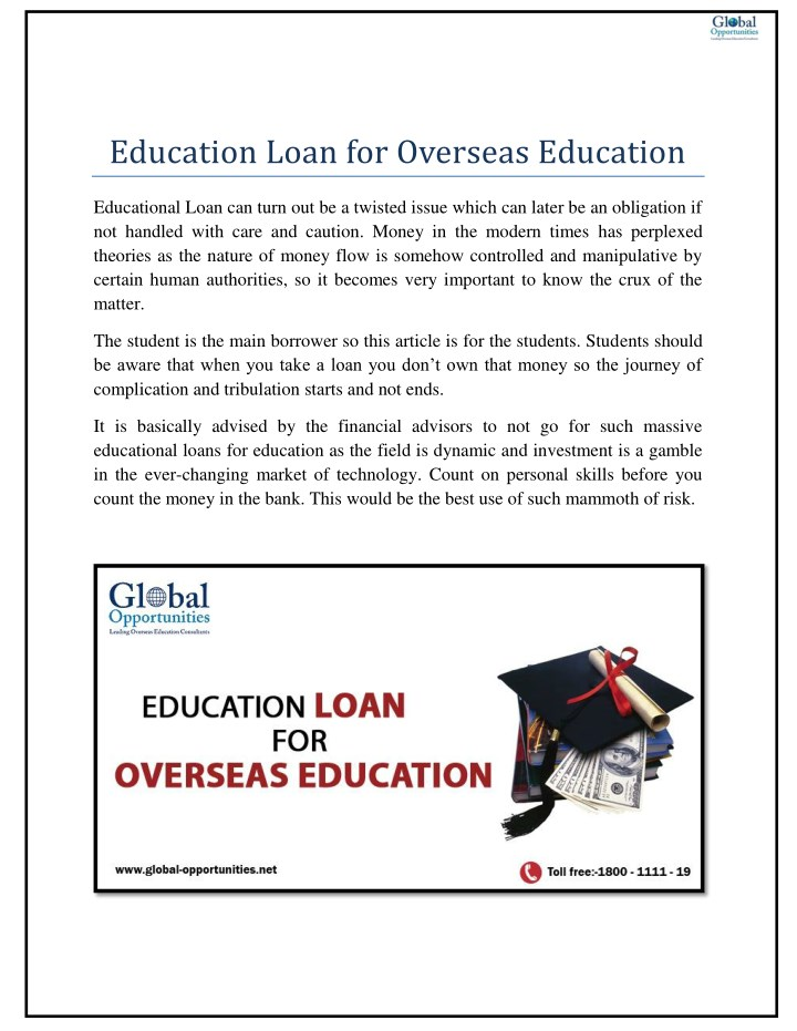 education loan for overseas education n.