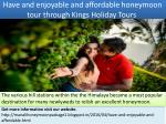 have and enjoyable and affordable honeymoon tour through kings holiday tours
