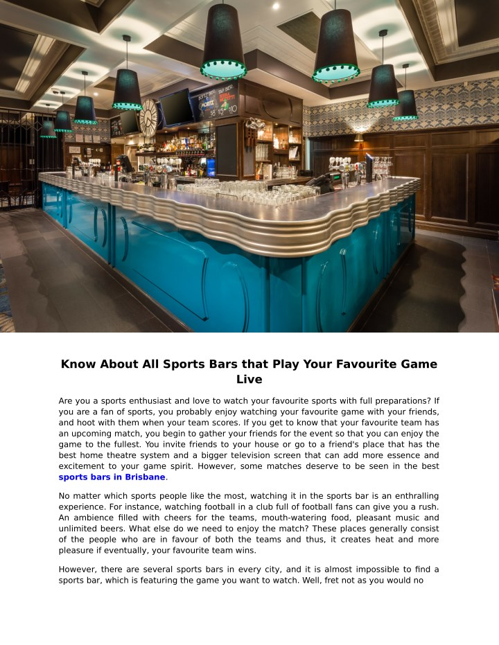 know about all sports bars that play your n.
