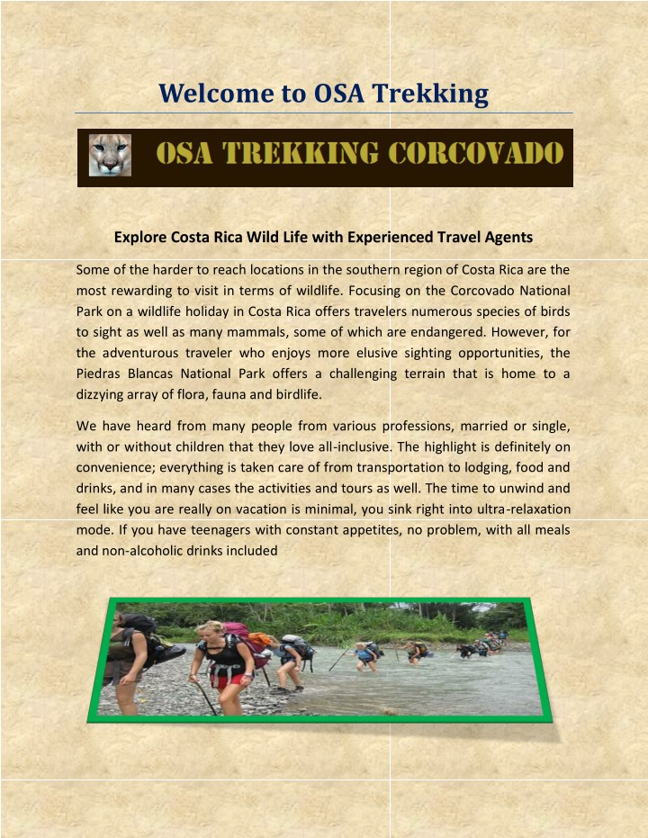 welcome to osa trekking n.