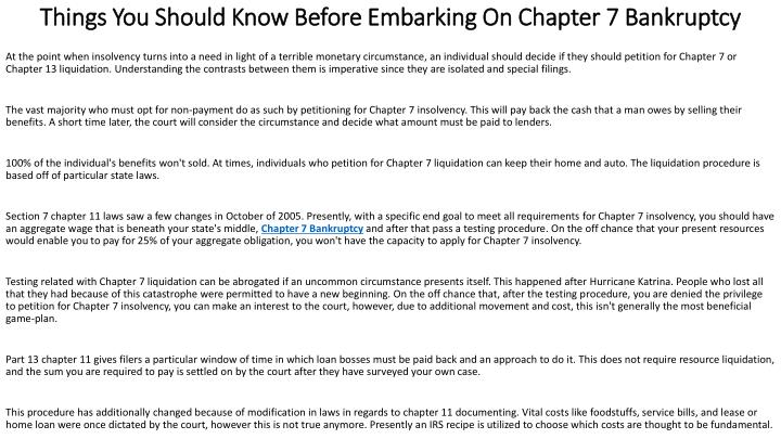things you should know before embarking on chapter 7 bankruptcy n.