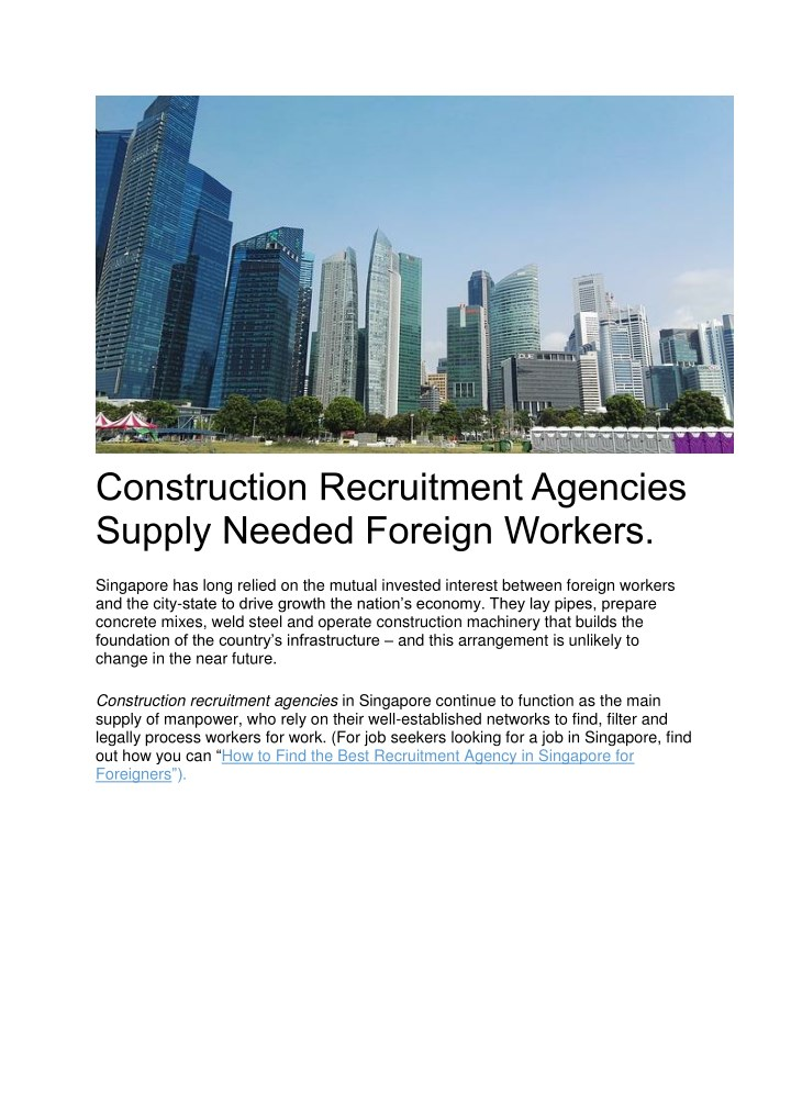 construction recruitment agencies supply needed n.