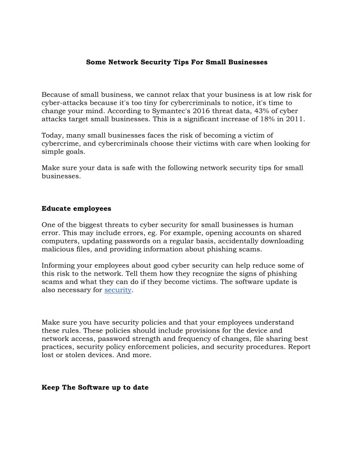 some network security tips for small businesses n.