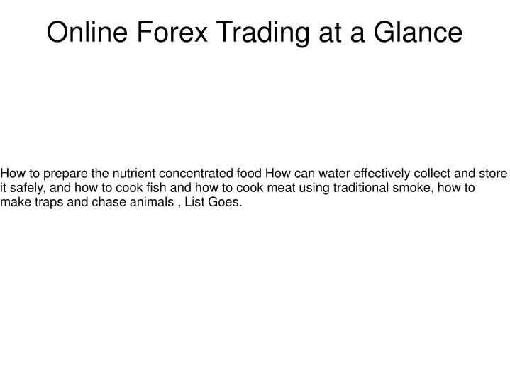 online forex trading at a glance n.
