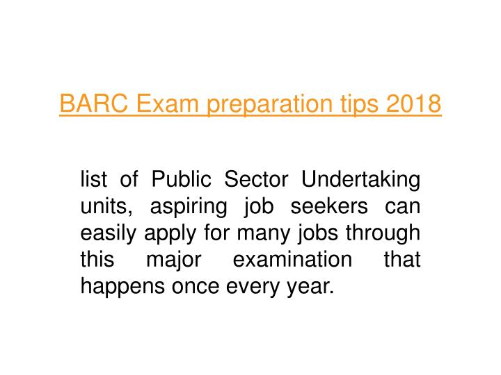 barc exam preparation tips 2018 n.