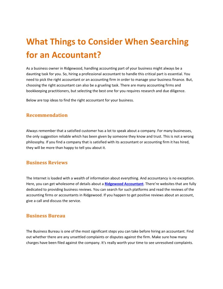 what things to consider when searching n.
