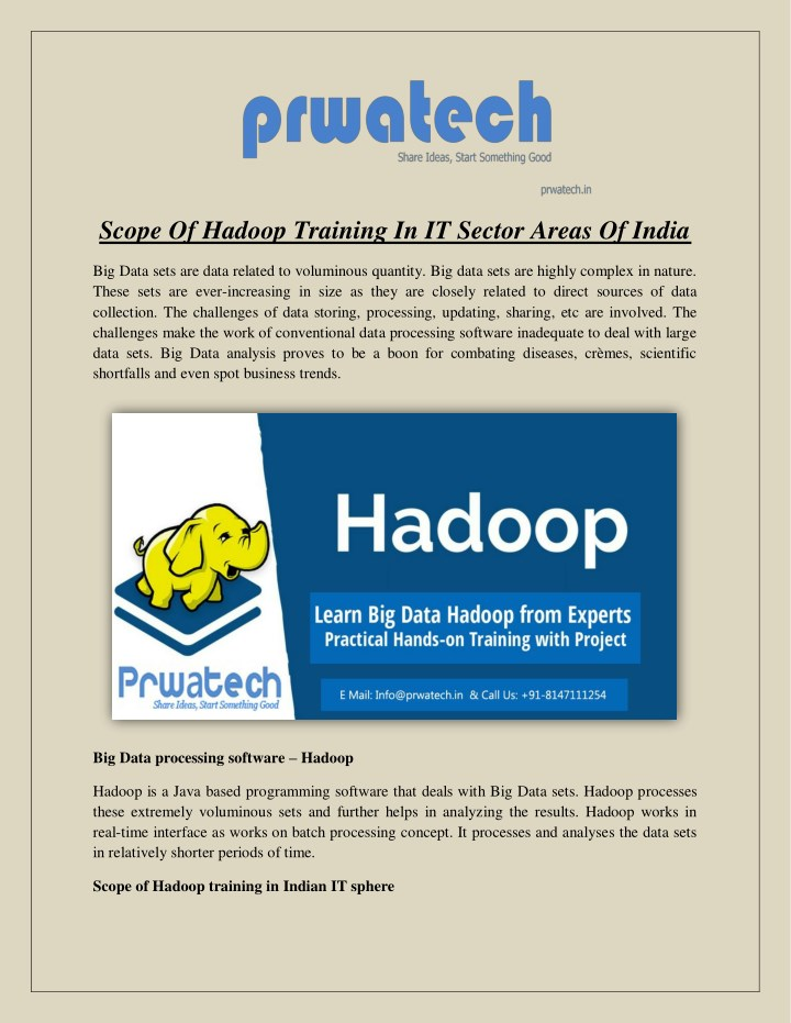 scope of hadoop training in it sector areas n.