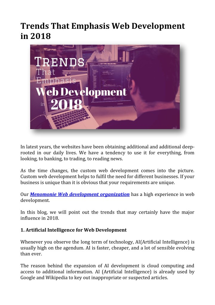trends that emphasis web development in 2018 n.