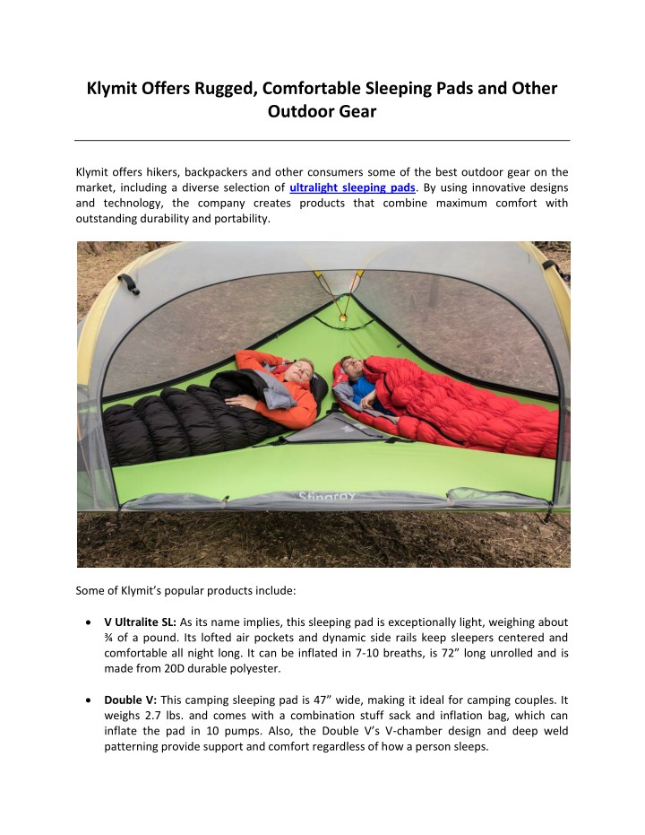klymit offers rugged comfortable sleeping pads n.