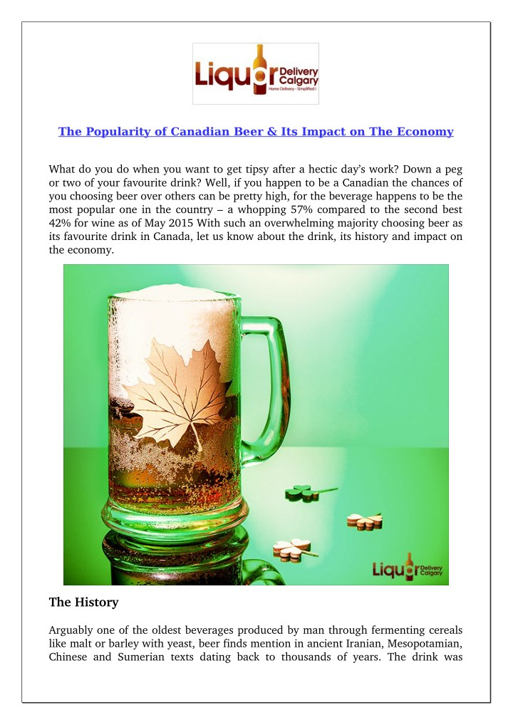 the popularity of canadian beer its impact n.
