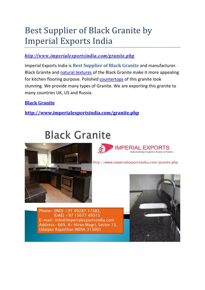 best supplier of black granite by imperial n.