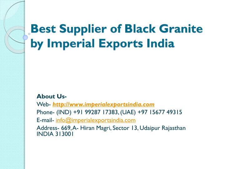 best supplier of black granite by imperial exports india n.
