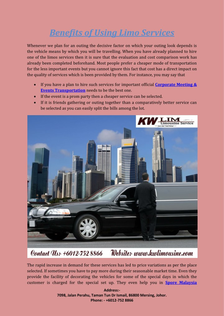 benefits of using limo services n.