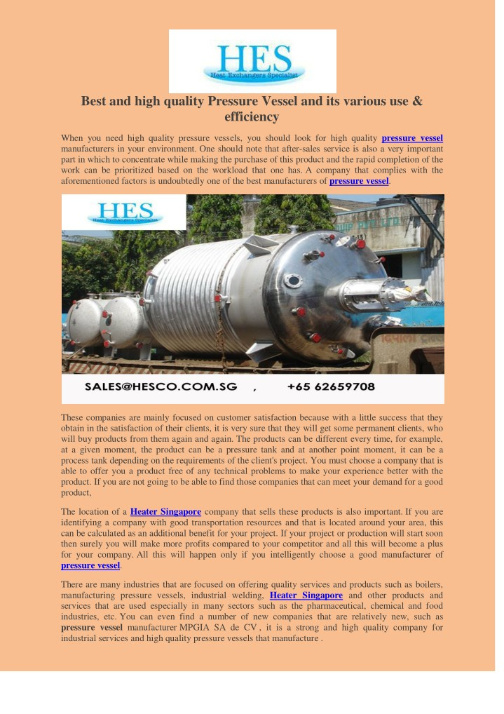 best and high quality pressure vessel n.