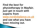 find the best for physiotherapy in mayfair just