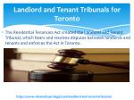 landlord and tenant tribunals for toronto