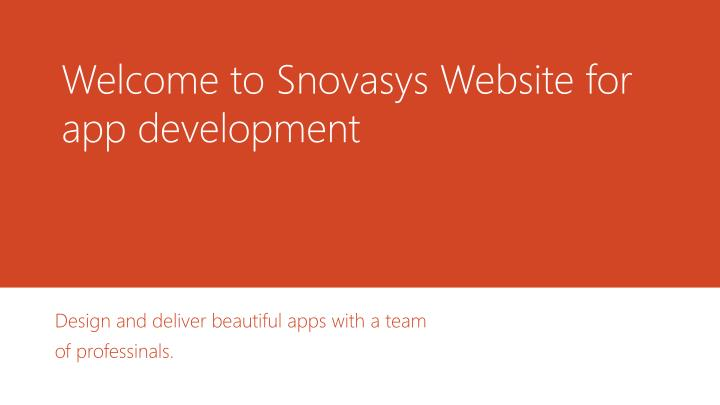 welcome to snovasys website for app development n.
