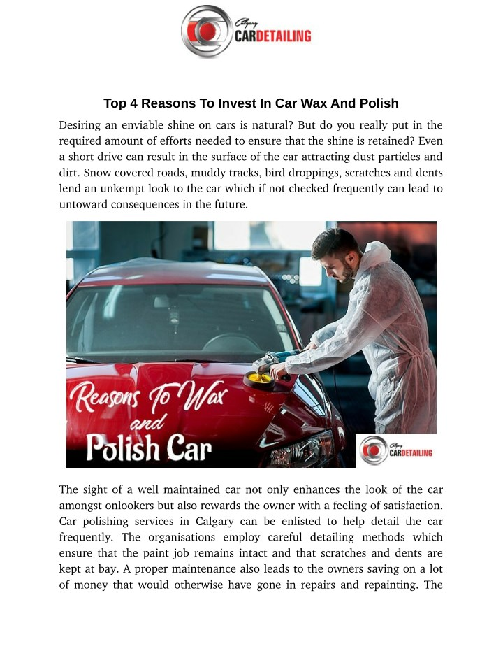 top 4 reasons to invest in car wax and polish n.