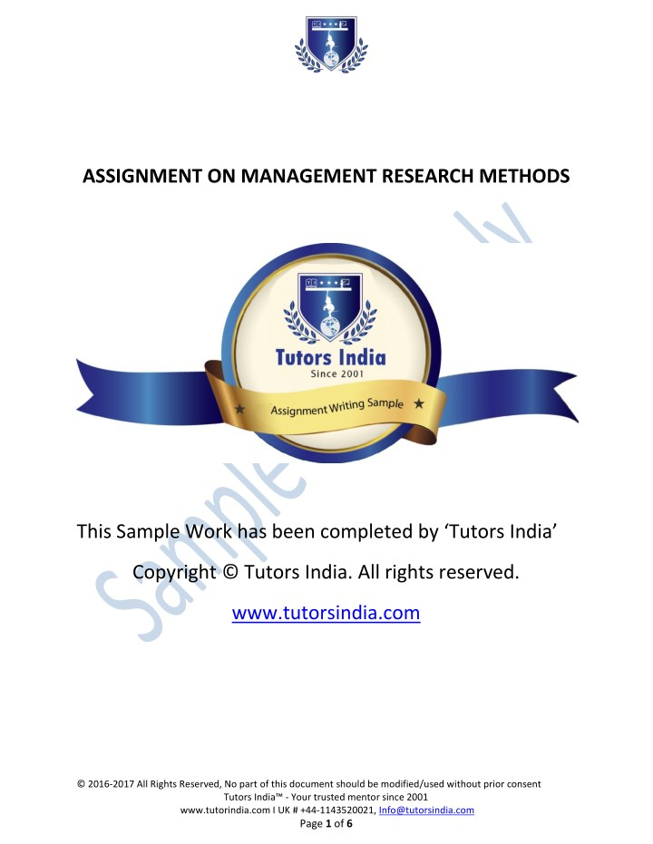 assignment on management research methods n.
