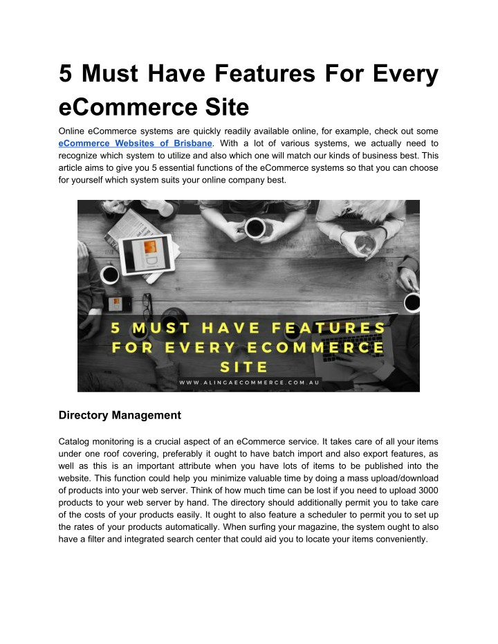 5 must have features for every ecommerce site n.