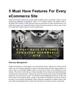 5 must have features for every ecommerce site