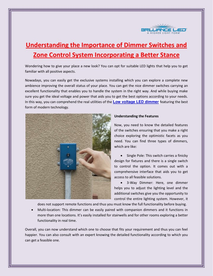 understanding the importance of dimmer switches n.