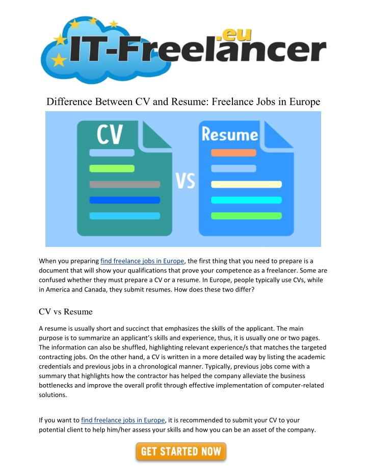 difference between cv and resume freelance jobs n.