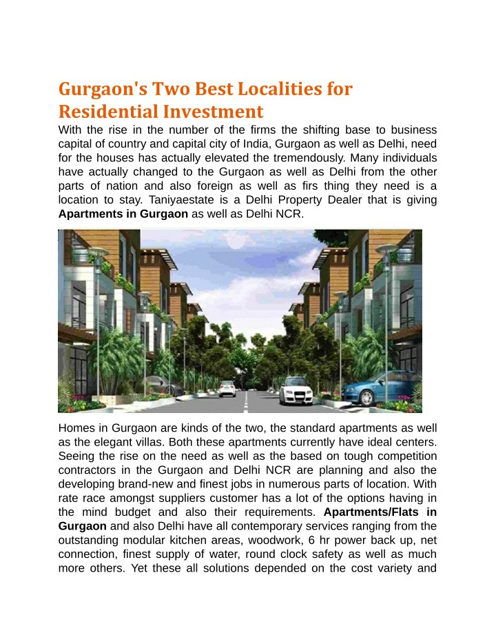 gurgaon s two best localities for residential n.