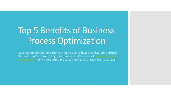 top 5 benefits of business process optimization n.